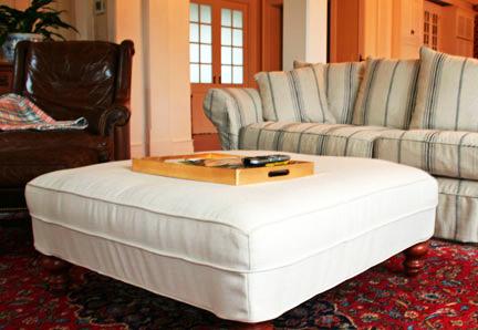 Slipcovers Vs. Upholstery Blog White Ottoman